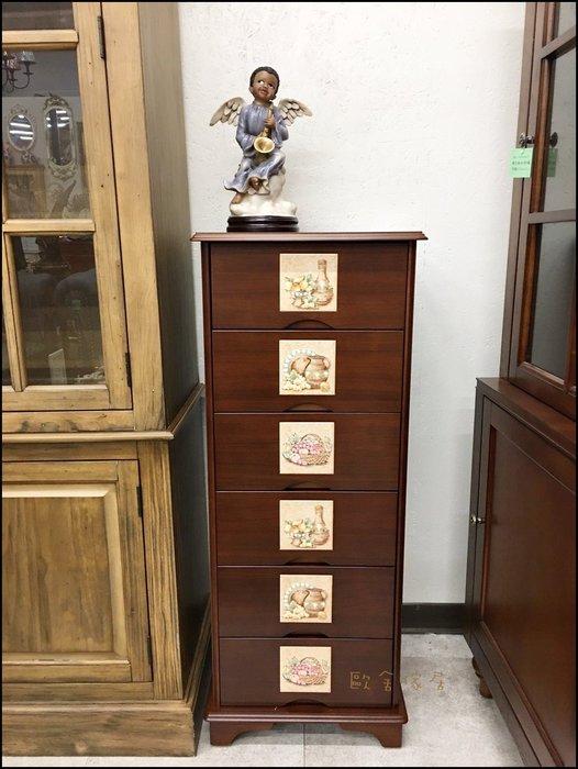 歐式古典風  木製磁磚六斗櫃 43*43多功能收納櫃 六抽櫃小衣物櫃衣櫃分類櫃文具櫃文件櫃檔案櫃房間置物櫃【歐舍傢居】