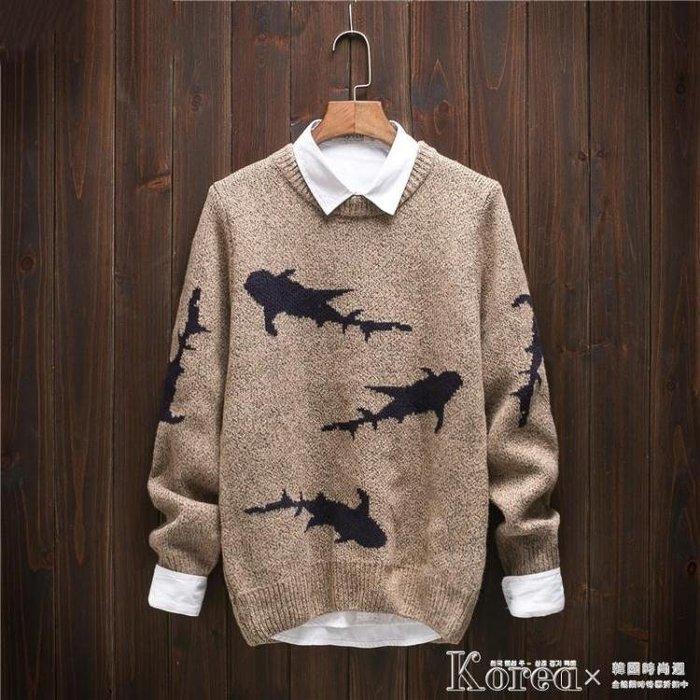 長袖毛衣 秋冬款男士鯊魚印花毛衣男日系復古針織衫圓領針織衫粗毛線