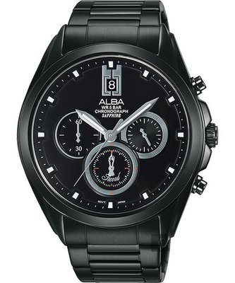 ALBA 三眼計時腕錶廣告款(AT3B07X1)-鍍黑/42mmVD53-X264SD