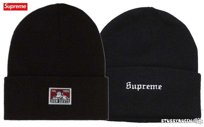 【超搶手】全新正品 2019 聯名限量Supreme X Ben Davis Beanie 刺繡字體 反摺毛帽 黑色
