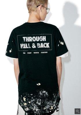 Kako正韓潮流男裝潮物Woo Civil Regime Hell&back Drop Tee下擺破洞情侶短袖T恤潮