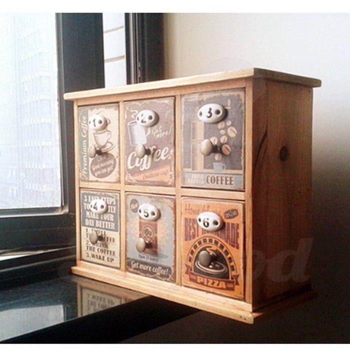 復古雜貨六格抽屜櫃 美式彩繪居家辦公桌面收納舊木櫃盒中藥櫃[好悠閒_SoGoods優購好]