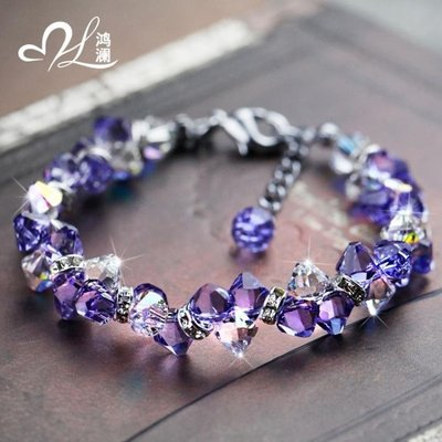 手鍊 紫水晶手鍊女簡約個性正韓森繫學生飾品粉首飾清新百搭甜美jy