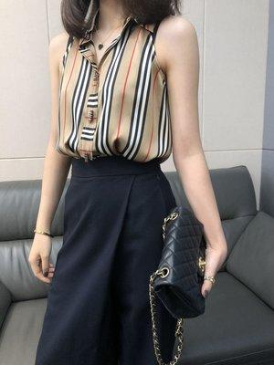 《巴黎拜金女》條紋真絲無袖襯衫定制的素綢緞面料