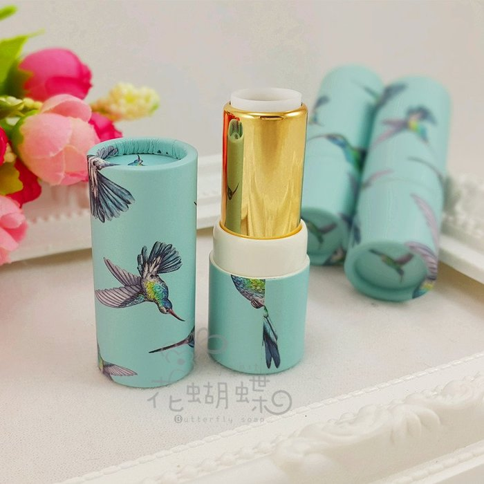 口紅管diy原創手工紙質蜂鳥創意空管殼青綠色自製唇膏12.1mm