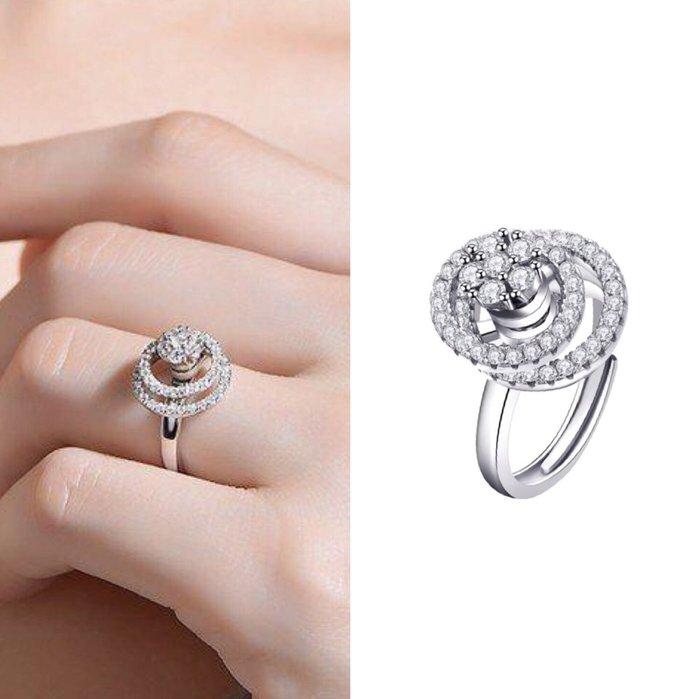 💎1357、三層雅緻美麗星宿環繞女神etoile戒指(三層都可旋轉設計)💎正韓飾品 耳環 珠寶 925純銀針