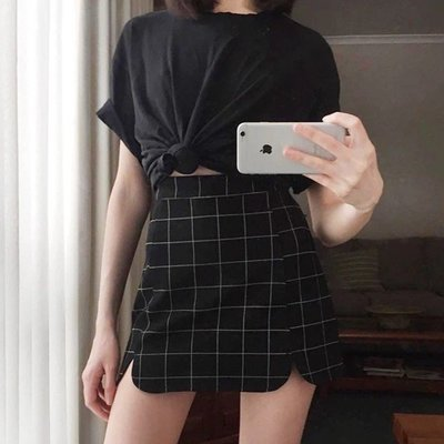 ROOM*CLOTHING歐美風復古高腰花邊雙開叉拉鏈高彈力包臀牛仔半身裙 黑白格紋短裙迷你A字裙子