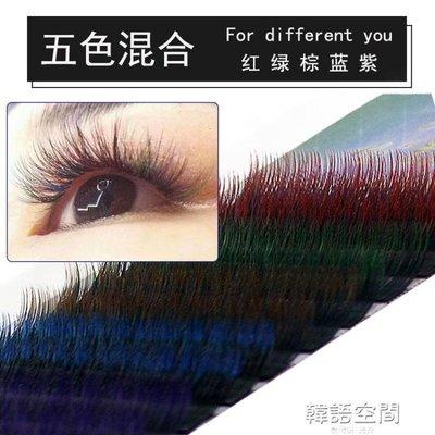 彩色嫁接種植睫毛單根假睫毛美睫  12排五種漸變色混合睫毛 自然