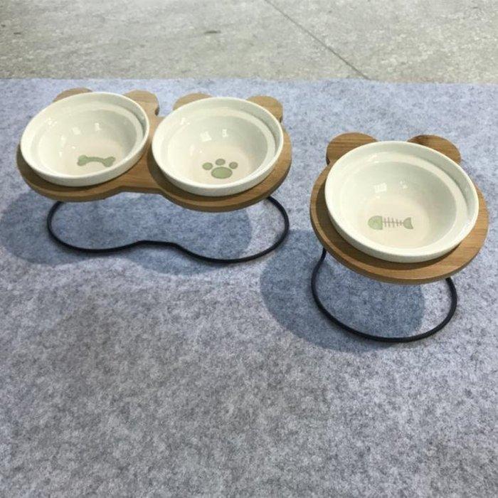 新品米奇寵物雙碗貓咪食盆碟陶瓷水碗帶碗架傾斜保護頸椎外貿狗碗