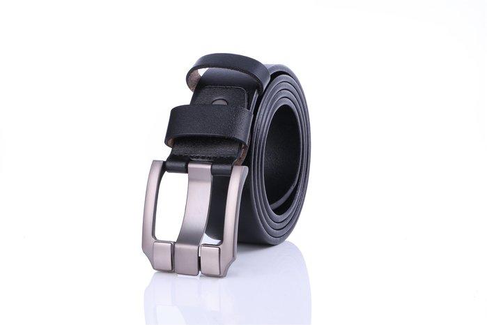 ZK2009BK英倫復古高質感穿針式牛皮腰帶皮帶黑色(腰圍在22-42吋內適用)