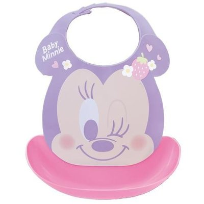 尼德斯Nydus 日本正版 迪士尼 嬰兒用品 寶寶圍兜 口袋圍兜 立體 防水 米妮 Minnie 日本製