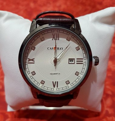 CASSRAY 美國 原裝 真皮錶 藍光鏡面 男錶 (台中可面交)