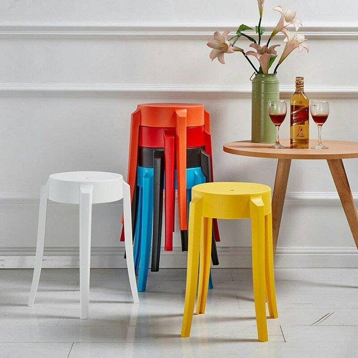 4個 歐美日流行 多彩時尚 圓凳子,承重150公斤,堅固耐用塑膠椅子,止滑墊,可疊高,上課講習休閒椅餐廳椅子,飯店餐館