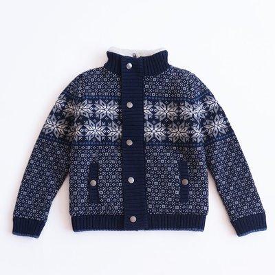 【Mr. Soar】 **清倉** D140 冬季新款 歐美style童裝男童深藍色緹花加絨毛衣外套 現貨
