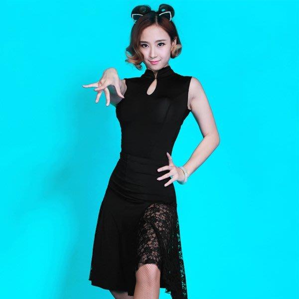 5Cgo【鴿樓】會員有優惠 42584739927 拉丁舞裙 成人蕾絲性感短舞蹈裙 大擺專業拉丁舞服裝套裝 交誼舞裙
