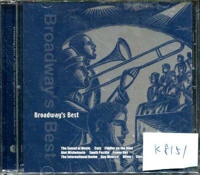 *真音樂* BROADWAY'S BEST 二手 K8151 (大降價.下標賣)