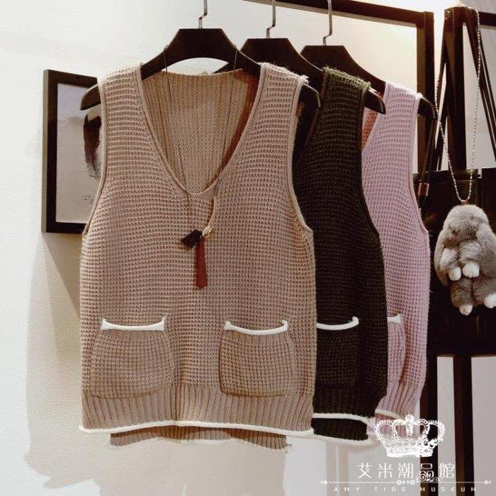 背心外套 短款針織馬甲女韓版寬松V領口袋坎肩毛線無袖毛衣