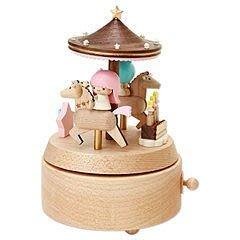 Gift 4165本通 三重店 雙子星 日本平輸 現貨 木製 音樂盒 聖誕旋轉木馬 4901610478721