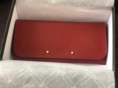 Longchamp CAVALCADE 釦式錢包 紅色 全新