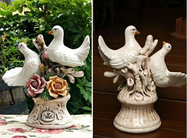 陶瓷鴿子擺飾--秘密花園--義大利製造進口SONDA立體玫瑰陶瓷愛的信鴿擺飾