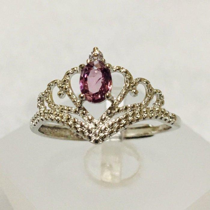 珍奇翡翠珠寶首飾-戒指系列035-天然粉紅色藍寶石,濃郁櫻花粉色,乾淨迷人,火光爆閃,搭配925銀白k鋯石戒台