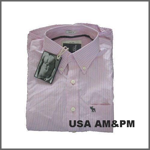 美國AMPM【現貨S150】AF A&F Basin Mountain 男版長袖 薄款 粉紅色條紋襯衫 M 號