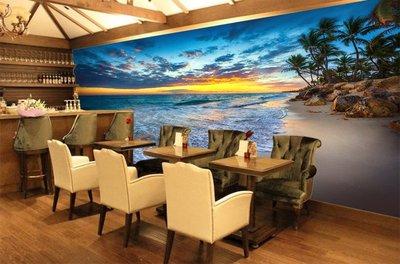 客製化壁貼 店面保障 編號F-718 晚霞海景 壁紙 牆貼 牆紙 壁畫 背景牆 星瑞 shing ruei