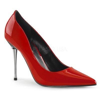 Shoes InStyle《四吋》美國品牌 PLEASER 原廠正品漆皮基本款尖頭金屬鍍鉻高跟包鞋 有大尺碼出清『紅色』