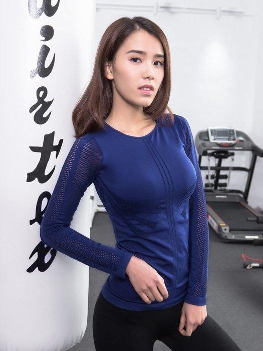 健身長袖上衣女性感鏤空緊身速干運動跑步健身房瑜伽夜跑訓練T恤