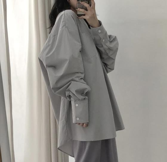 SeyeS  NYLON古著時尚韓系時髦燈籠袖寬鬆設計感襯衫