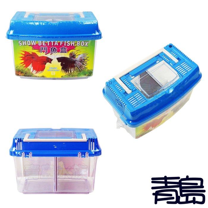 M。。。青島水族。。。店長嚴選---手提式 海灣型 鬥魚盒 鬥魚缸 鬥魚格 寵物箱 手提箱 外出盒 雙隔板
