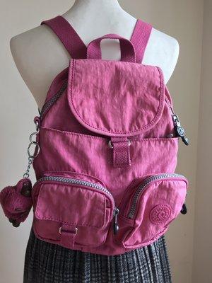 KipLing~桃紅色~小款後背包~可以斜背~二手