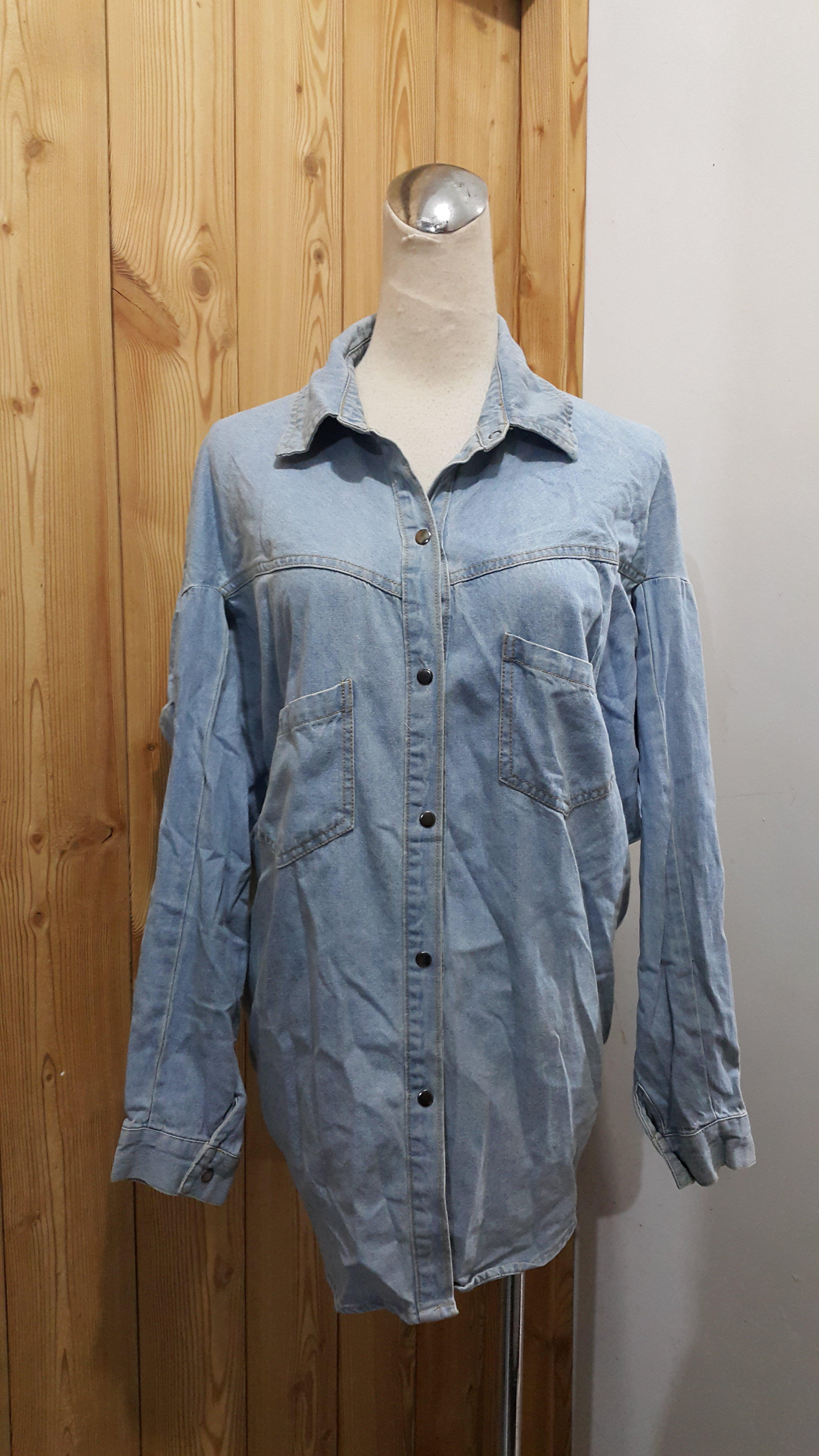 【二手】淺藍色前短後長後綁帶丹寧襯衫/小外套