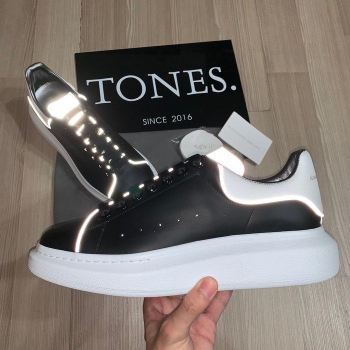 【TONES.】Alexander MCQueen 19SS 反光款 厚底鞋 黑身白尾 限定款