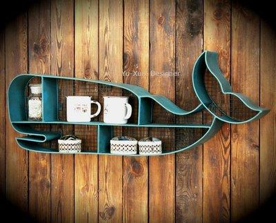 loft工業風 鯨魚造型鐵藝壁掛杯架 壁飾復古美式鄉村風個性咖啡廳玩偶收納儲物創意設計裝潢§宥薰設計家