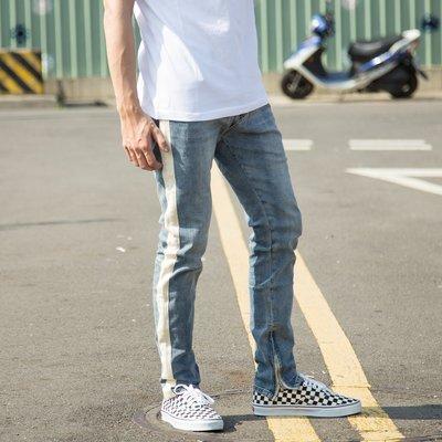 【V select shop】白條 內拉鏈水洗牛仔長褲