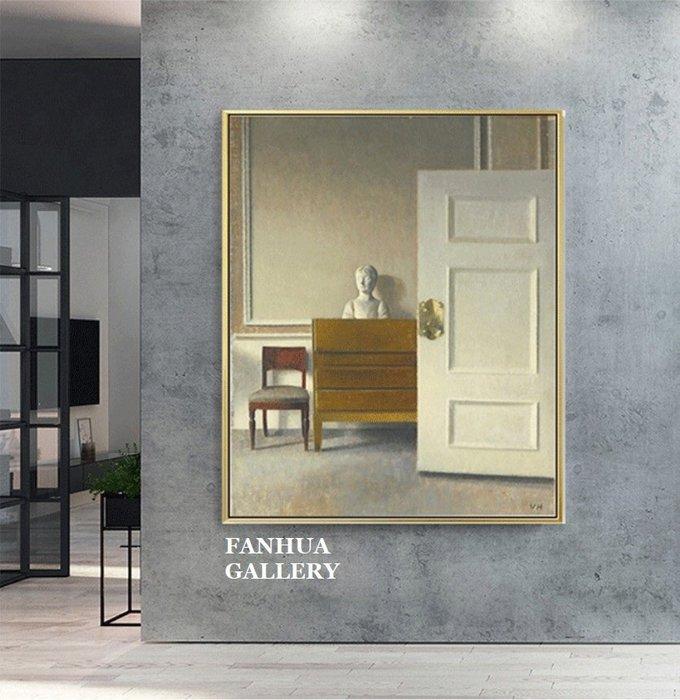 C - R - A - Z - Y - T - O - W - N 哈莫修伊丹麥畫家印象派象徵主義掛畫現代小眾裝飾畫走廊版畫房間靜物擺件掛畫品味美學空間藝術畫