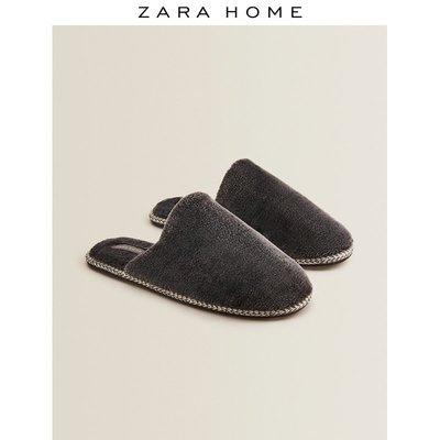 Zara Home 灰色秋冬男士拖鞋人造皮草居家室內拖鞋男16009071084悠悠