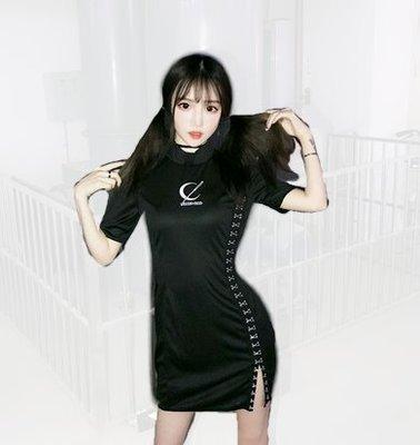 【黑店】原創設計 刺繡月亮金屬排釦開衩合身洋裝 暗黑系旗袍改良式旗袍 個性黑色洋裝 中國風個性黑色刺繡洋裝MB237