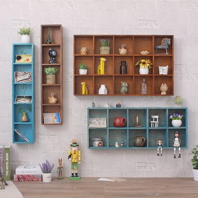 優良鋪子-無痕釘復古墻上置物架餐廳墻面裝飾實木架子格子架收納儲物架壁架(規格不同 價格不同)
