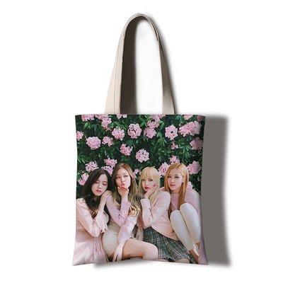 爆熱款--blackpink粉墨手提周邊帆布袋YG韓系女生學生包包同款雜志定制#明星抱枕#創意#個性#毛絨