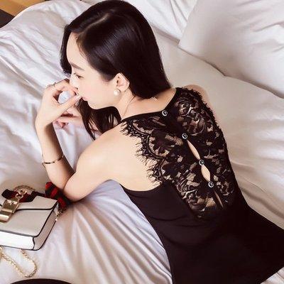 2017秋季新款百搭黑白性感小吊带可单穿蕾丝边背心露肩打底衫女
