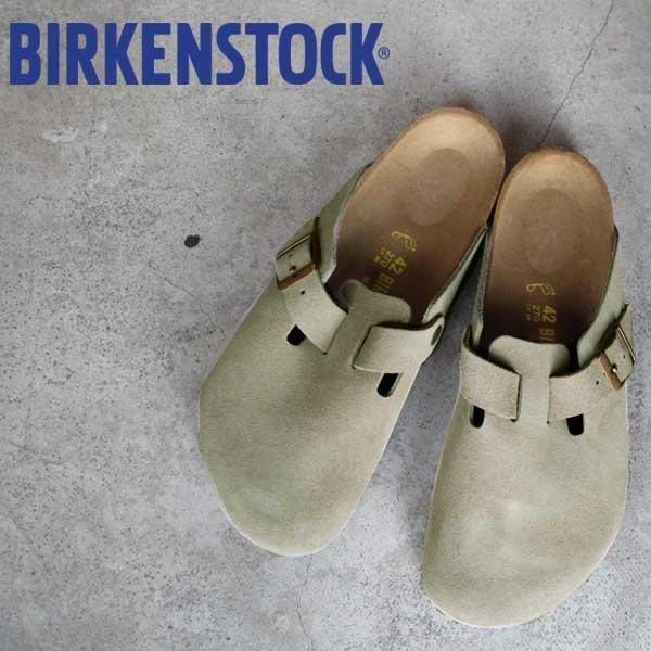 Birkenstock Boston 波士頓系列 麂皮 半包拖鞋 包頭拖鞋-灰褐