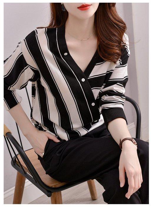 YOHO 長袖上衣 (HH103248) 氣質優雅款寬鬆V領條紋長袖針織衫
