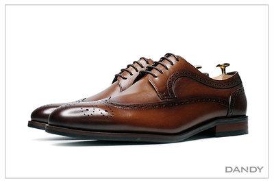 ├ DANDY ┤真皮手染燻舊雕花德比鞋 ‧ 2021新款正裝男鞋 咖啡棕色-B422