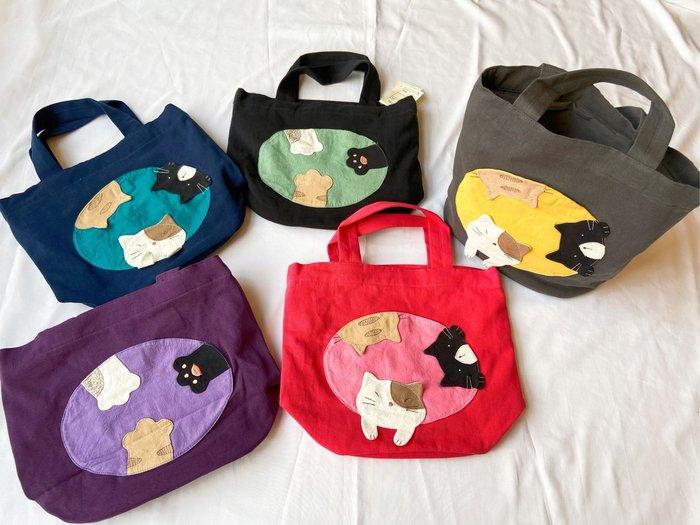 日本卡拉貓~三貓經典束口手提包 便當袋