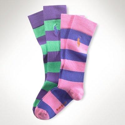 Polo Ralph Lauren 女孩Rugby 條紋及膝襪(4-6X號) r2(95500)~全新正品