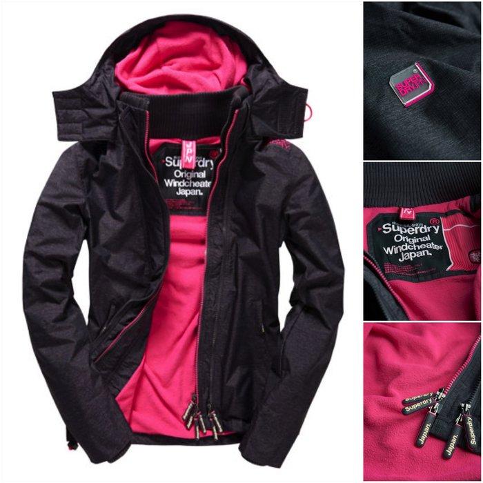 極度乾燥 Superdry Arctic Windcheater jacket 風衣 外套 刷毛 防風 深灰桃紅 現貨