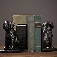 美式鄉村北歐擺件家居書房客廳裝飾品擺設小狗書檔