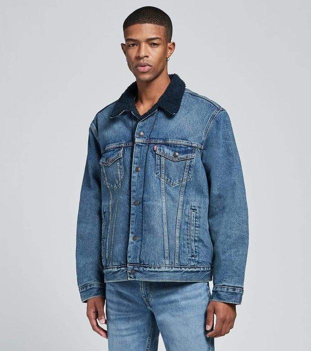 【羊絨裡毛領XS-XXL號】美國LEVI S Sherpa Trucker Jacket 深藍水洗藍毛裡牛仔外套保暖夾克